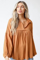 Camel - Linen Babydoll Blouse Front View