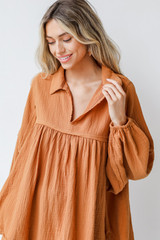 Camel - Linen Babydoll Blouse Front View on model