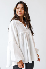 Linen Babydoll Blouse in White Side View