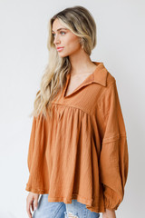 Linen Babydoll Blouse in Camel Side View