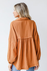 Linen Babydoll Blouse in Camel Back View