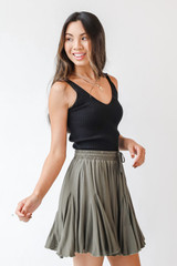 Mini Skirt in Olive Side View