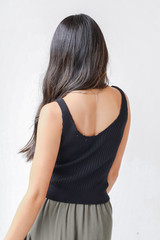 Sweater Tank in Black Back View