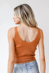 Sweater Tank in Camel Back View