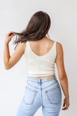 Sweater Tank in Ivory Back View