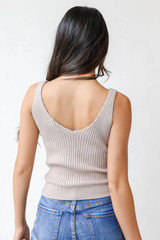 Sweater Tank in Grey Back View