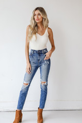 Dark Wash - Distressed Mom Jeans from Dress Up