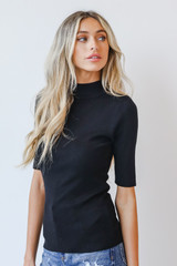 Mock Neck Sweater Top in Black Side View