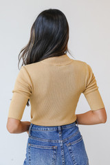 Mock Neck Sweater Top in Gold Back View