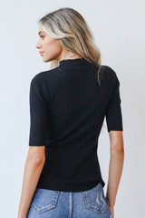 Mock Neck Sweater Top in Black Back View