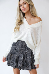 Spotted Mini Skirt Front View
