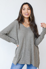 Olive - Oversized Knit Top Front View