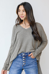 Olive - Oversized Knit Top Front View on model