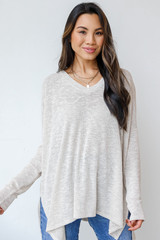 Ivory - Model wearing an Oversized Knit Top with jeans