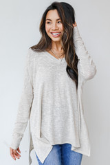 Ivory - Dress Up model wearing an Oversized Knit Top with jeans