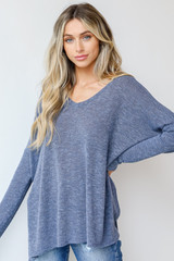 Blue - Dress Up model wearing an Oversized Knit Top with denim