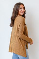 Oversized Knit Top in Camel Side View