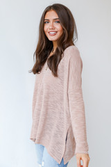 Oversized Knit Top in Blush Side View