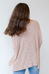 Oversized Knit Top in Blush Back View