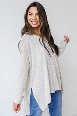 Oversized Knit Top in Ivory Side View