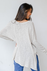 Oversized Knit Top in Ivory Back View