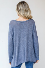 Oversized Knit Top in Blue Back View