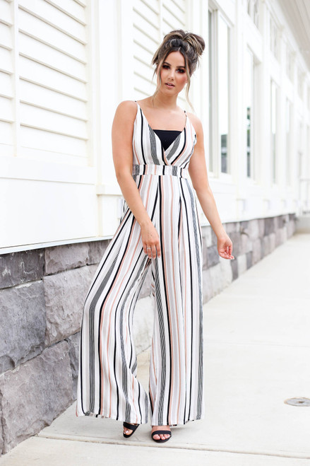 Taupe - Strapless Striped Jumpsuit
