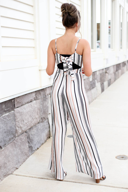 Taupe - Strapless Striped Jumpsuit Back View