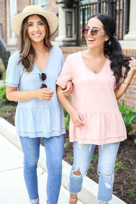 Blush - and Denim V-Neck Peplum Tees