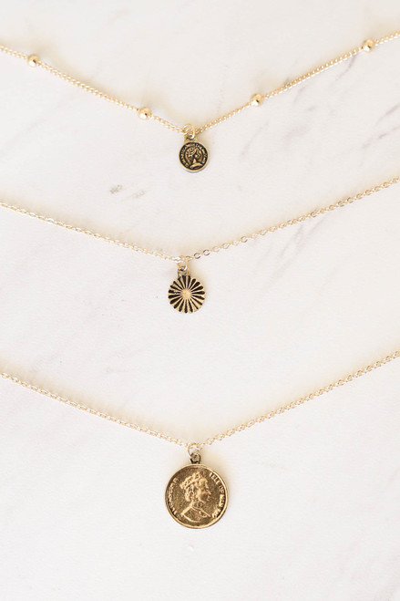 Gold - Layered Pendant Necklace Flat Lay