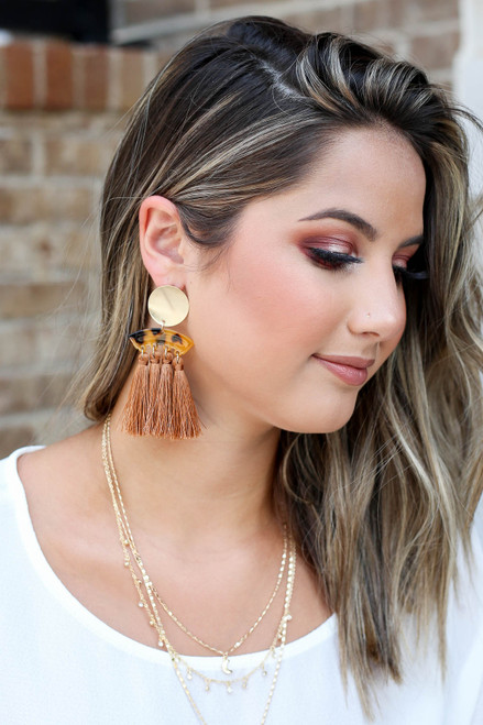 Rust - Model wearing Rust And Gold Acrylic Tassel Earrings