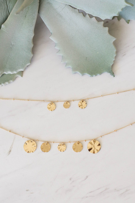 Gold - Layered Circle Charm Necklace