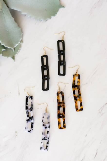 Black - Acrylic Drop Earrings Flat Lay