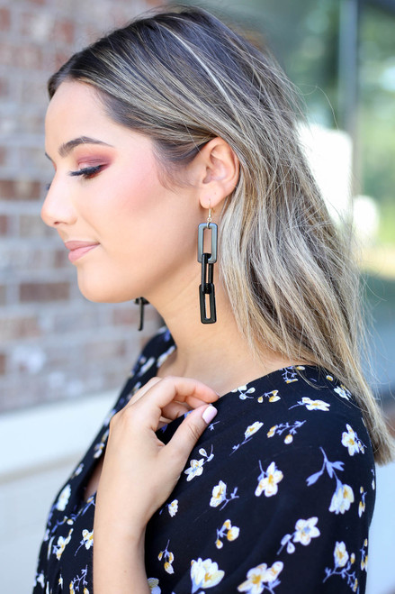 Black - Acrylic Drop Geometric Earrings on Model