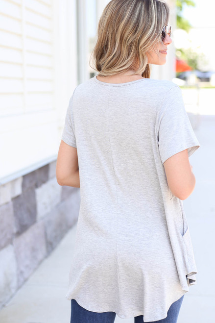 Heather Grey - Pocketed Babydoll Tee Back View