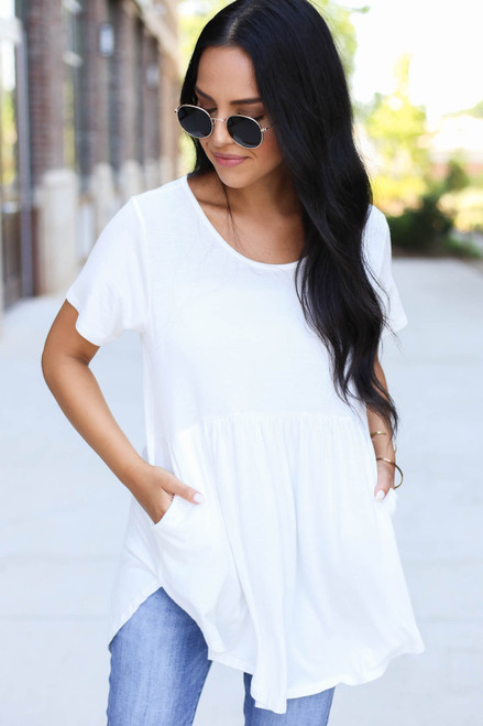 Ivory - Pocketed Babydoll Tee