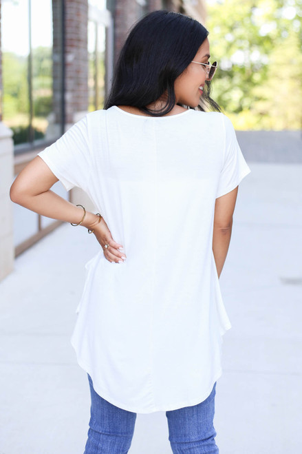 Model wearing Ivory Pocketed Babydoll Tee Back View