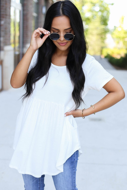 Model wearing Ivory Pocketed Babydoll Tee Front View