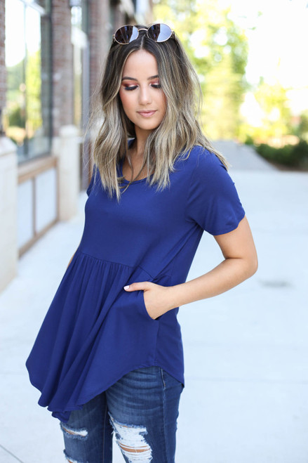 Navy - Pocketed Babydoll Tee Front View