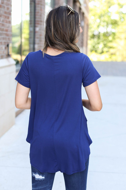 Model wearing Navy Pocketed Babydoll Tee Back View