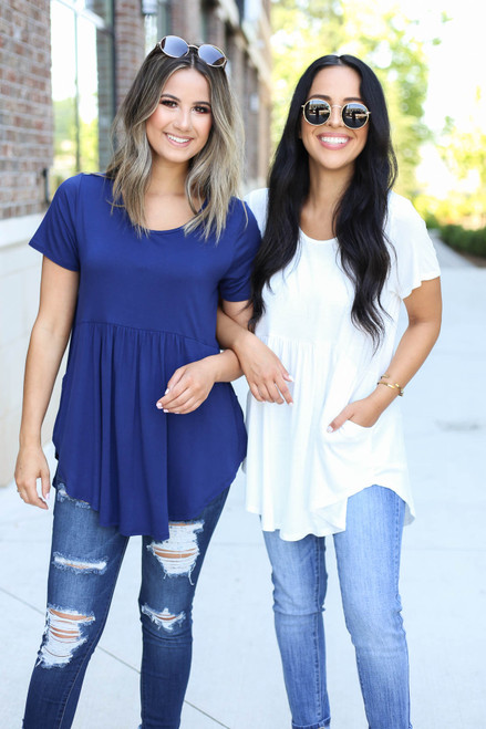 Ivory - and Navy Pocketed Babydoll Tees