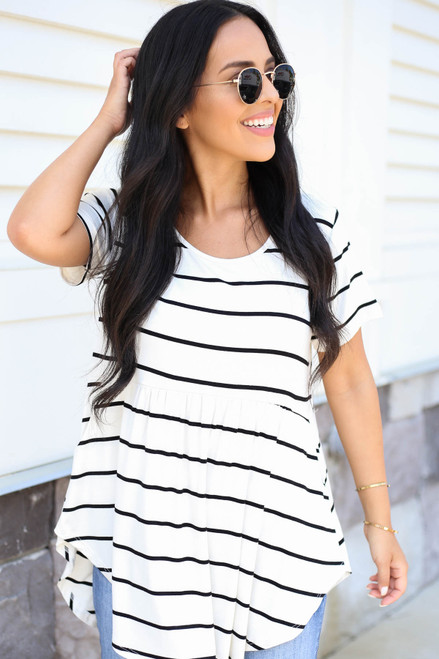 White - and Black Striped Pocketed Babydoll Top Front View