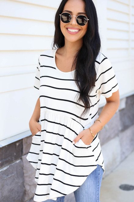 White - and Black Striped Pocketed Babydoll Top
