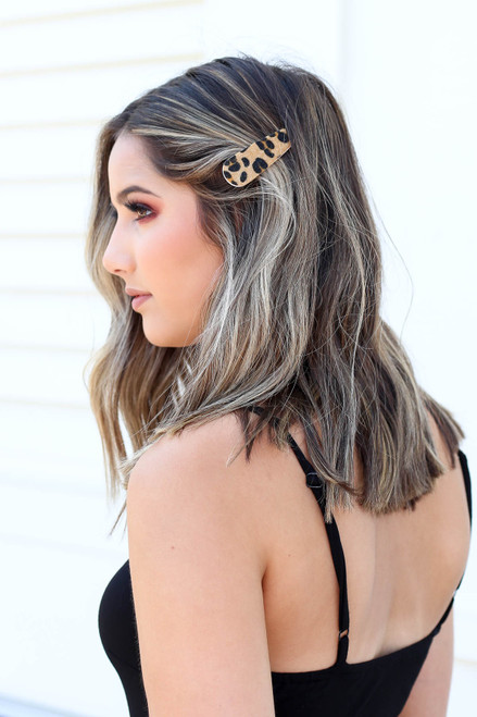Leopard - Model wearing Leopard Print Hair Clip