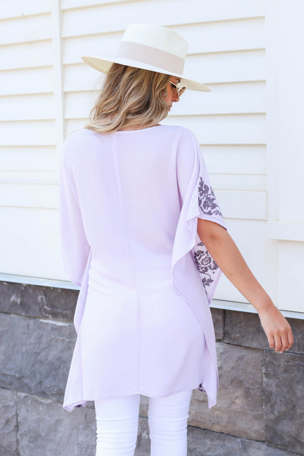 Model wearing Purple Drawstring Embroidered Tunic Back View