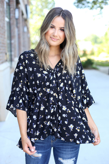 Black - Floral Button Up Blouse