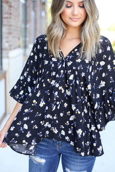 Model wearing Black Floral Button Up Babydoll Top Detail View