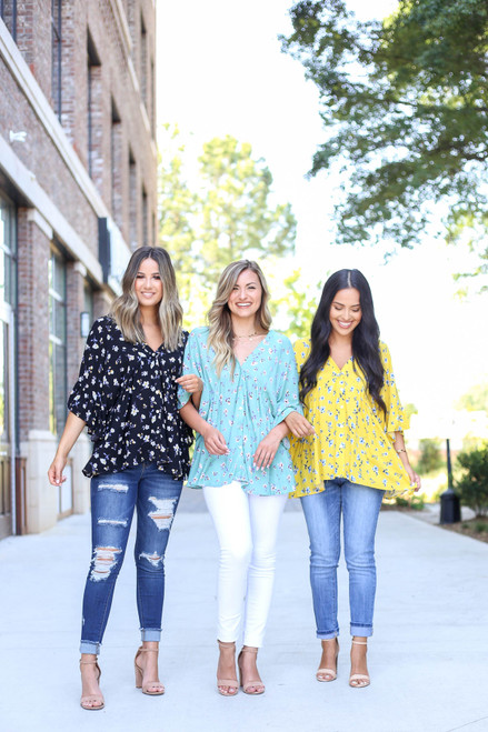 Black - Mint and Yellow Floral Blouses on Models