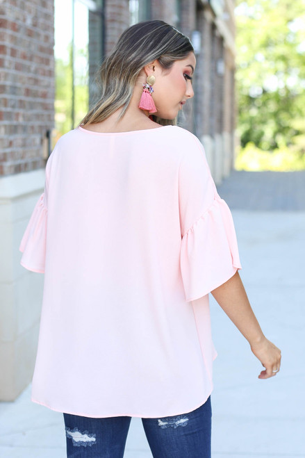 Blush - Bell Sleeve Blouse Back View