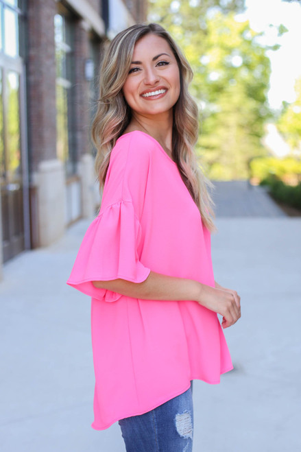 Neon Pink - Bell Sleeve Blouse Side View